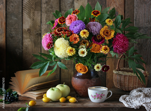 Still Life With A Bouquet Of Garden Flowers And Fruit