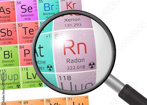 Vászonkép Element of Radon with magnifying glass