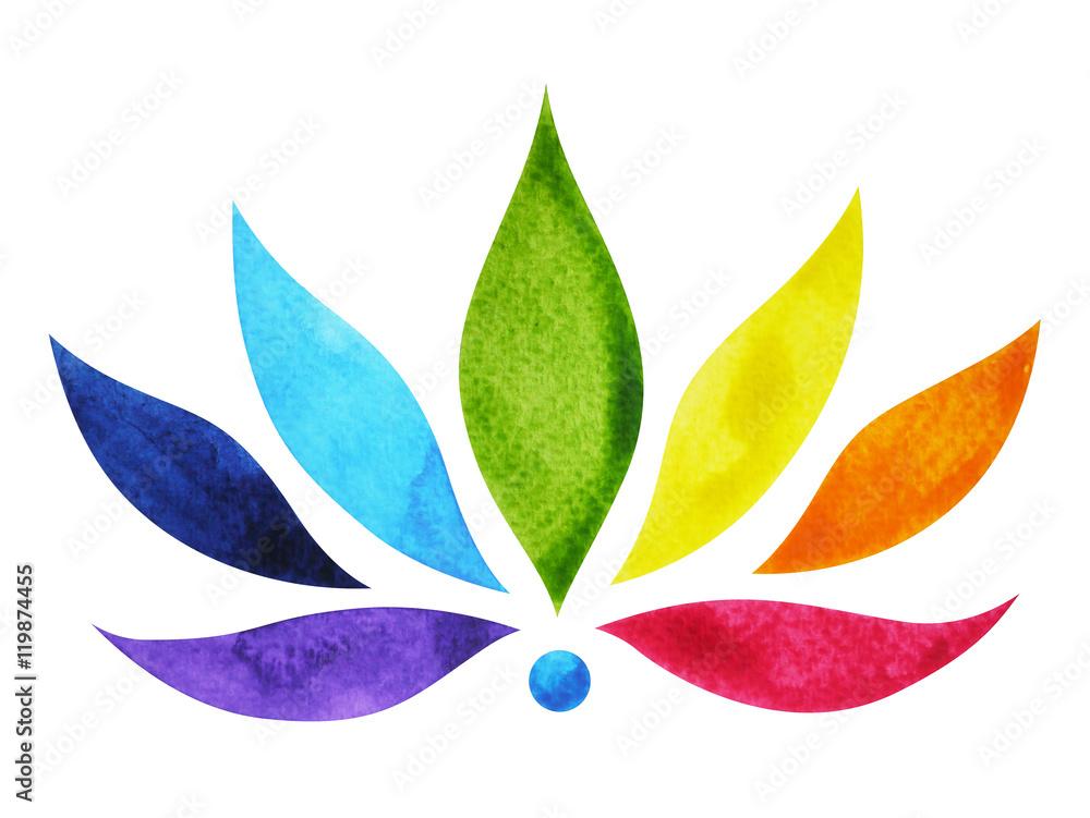 Fototapety, obrazy: Znak czakry, kolorowy kwiat lotosu, akwarela