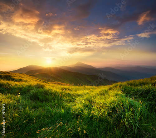Mountain valley during sunrise. Natural summer landscape Wall mural