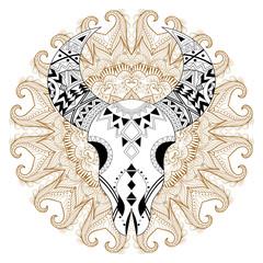 Panel Szklany Boho Zentangle stylized Animal Skull on gypsy mandala. Freehand vecto