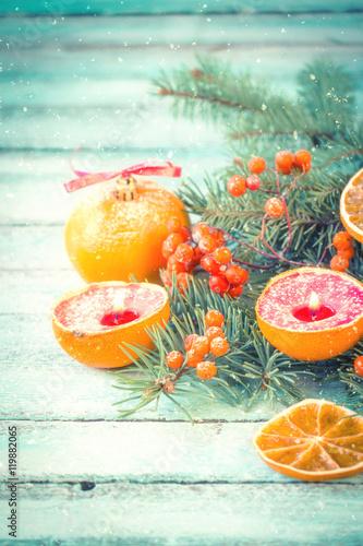 Fototapeta Christmas decoration on abstract background,vintage filter,soft focus obraz na płótnie