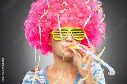 Keuken foto achterwand Carnaval Colorful party woman