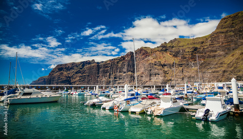 Poster Ville sur l eau Los Gigantes marina with yachts and boats
