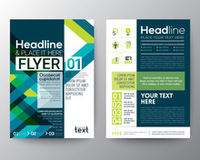 Business Brochure Flyer Design Layout Template With Abstract Green And Blue Geometric Line Shape Background In A4 Size