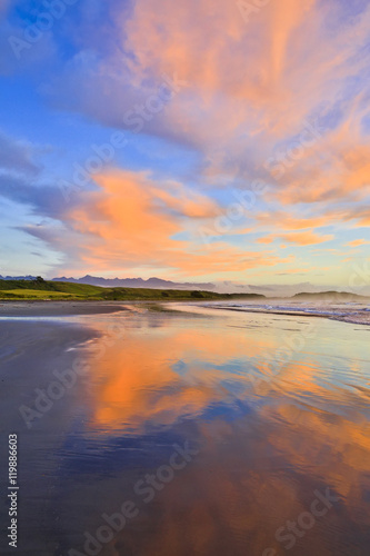 View of coastline at Sunrise. Westport of New Zealand. #119886603