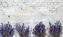 Bouquets Of Lavender On A Wood...