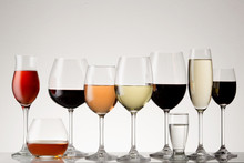Collection Of Stemware With Drinks.