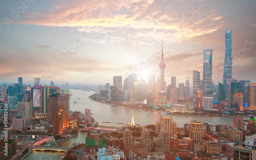 Foto op Aluminium Shanghai Aerial photography at Shanghai bund Skyline of sunrise