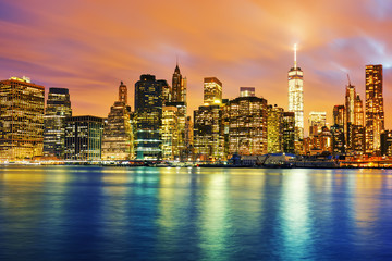 Panel Szklany Miasto Nocą View of Manhattan at sunset