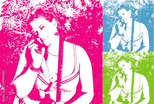 Foto op Plexiglas Art Studio The blue-eyed beautiful girl in a swimsuit with a fishing pole and a telephone in the style of pop art