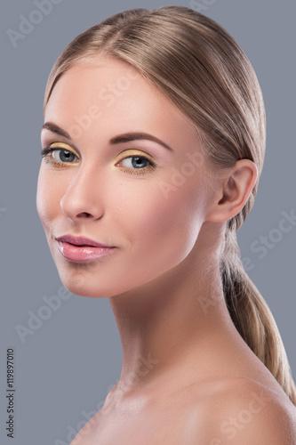 Fotografie, Obraz  Beautiful blonde woman with bright makeup