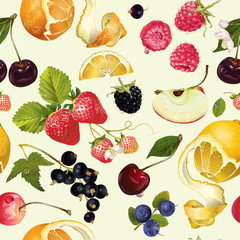 Fototapeta Owoce Fruit and berry pattern