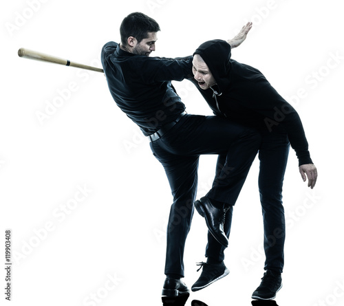 Canvas Print men krav maga fighters fighting isolated