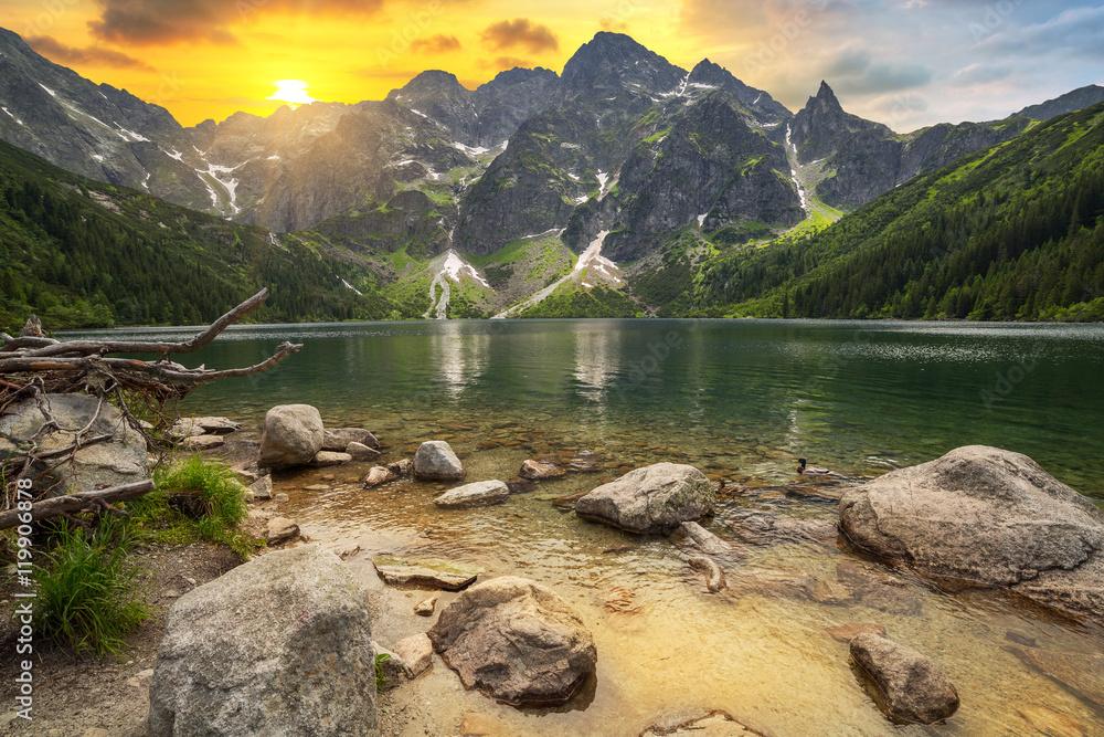 Fototapety, obrazy: Eye of the Sea lake in Tatra mountains at sunset, Poland