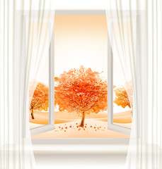 FototapetaAutumn background with an open window and colorful trees. Vector