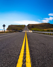 Yellow Road Dividing Line Along Coastal Route In California