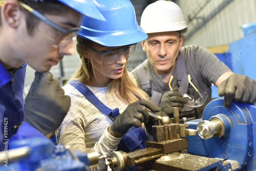 Young people in metallurgy training