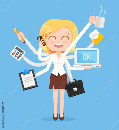 Happy Office Woman Character Multitasking Hard Work Vector Flat
