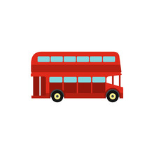 Double Decker Bus Icon In Flat Style Isolated On White Background. Transport Symbol Vector Illustration
