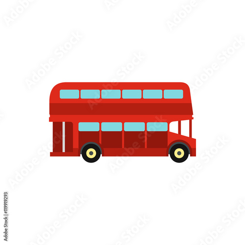 Double decker bus icon in flat style isolated on white background Fototapete