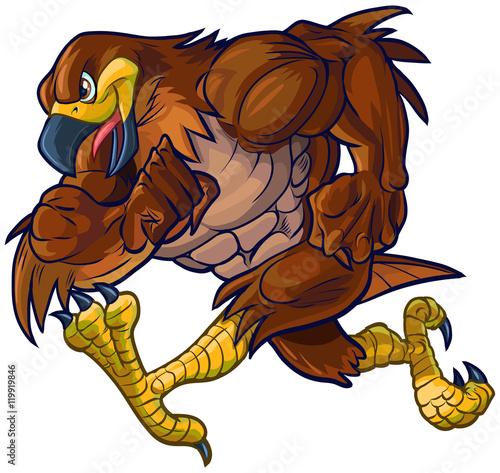Vector Cartoon Hawk Eagle or Falcon Mascot Running Poster