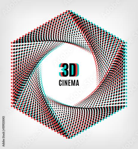 3D cinema creative concept, 3d movie icon Wallpaper Mural