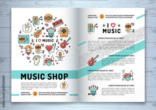 Music Brochure Template A4 Size Music Infographics Trendy Icons