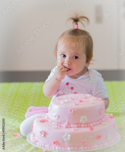 Pleasant 1Year Old Baby Girl Celebrating Birthday And Playing With The Personalised Birthday Cards Petedlily Jamesorg