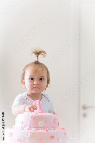 Swell 1Year Old Baby Girl Celebrating Birthday And Playing With The Personalised Birthday Cards Cominlily Jamesorg