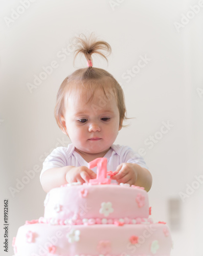 Enjoyable 1Year Old Baby Girl Celebrating Birthday And Playing With The Personalised Birthday Cards Petedlily Jamesorg