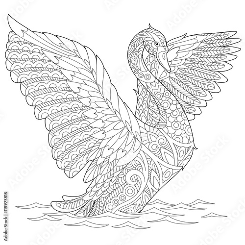 Stylized beautiful swan, isolated on white background. Freehand sketch for adult anti stress coloring book page with doodle and zentangle elements.