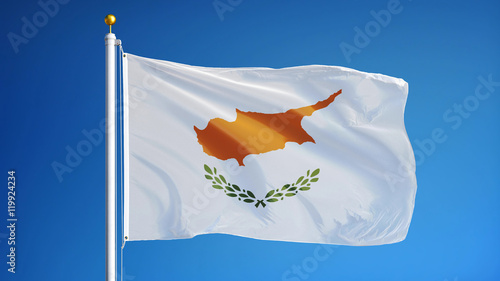 Cyprus flag waving against clean blue sky, close up, isolated with clipping path mask alpha channel transparency