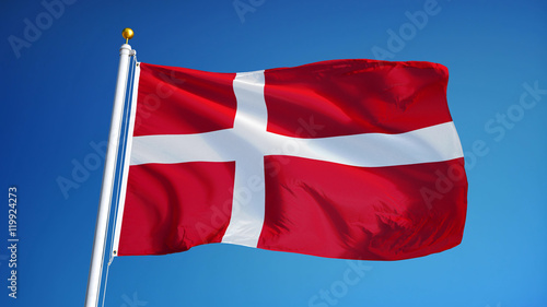 Denmark flag waving against clean blue sky, close up, isolated with clipping pat Wallpaper Mural
