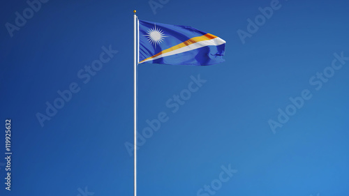 Photo  Marshall Islands flag waving against clean blue sky, long shot, isolated with cl