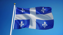 Quebec Flag Waving Against Cle...