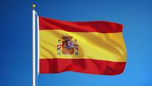 Spain Flag Waving Against Clea...