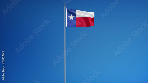 Foto op Plexiglas Texas Texas flag waving against clean blue sky, long shot, isolated with clipping path mask alpha channel transparency
