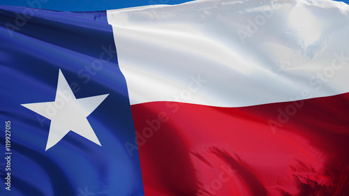 Poster Texas Texas flag waving against clean blue sky, close up, isolated with clipping path mask alpha channel transparency