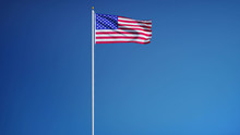 USA Flag Waving Against Clean Blue Sky, Long Shot, Isolated With Clipping Path Mask Alpha Channel Transparency