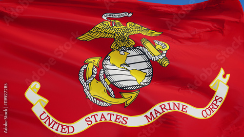 Fotografie, Obraz  United States Marine Corps flag waving against clean blue sky, close up, isolate