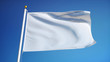 Leinwandbild Motiv Empty white clear flag waving against clean blue sky, close up, isolated with clipping path mask alpha channel transparency