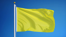 Bright Yellow Flag Waving Against Clean Blue Sky, Close Up, Isolated With Clipping Path Mask Alpha Channel Transparency