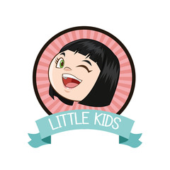 little girl kid cartoon inside seal stamp with ribbon icon. Vector illustration
