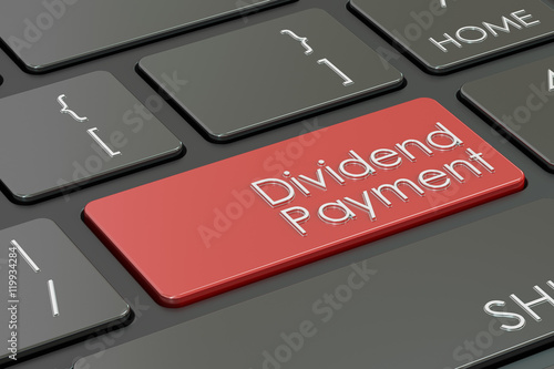 Fotografía  Dividend Payment keyboard button, 3D rendering