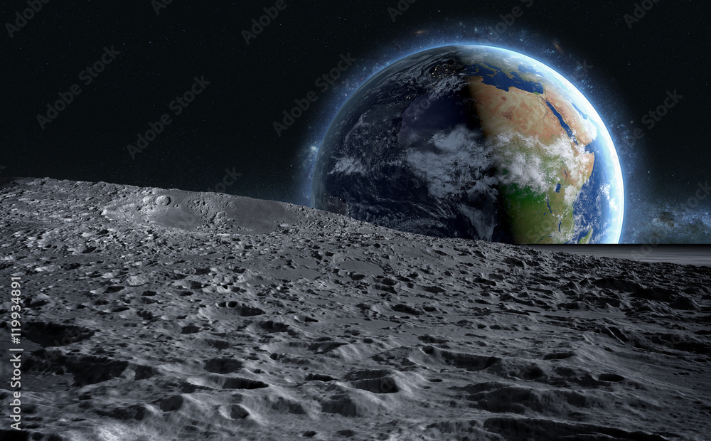 Fototapety, obrazy: moon surface. The space view of the planet earth. 3d rendering