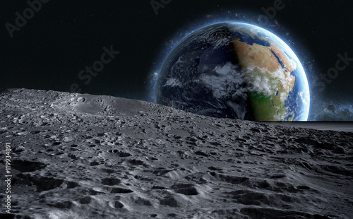 Fotografiet  moon surface. The space view of the planet earth. 3d rendering