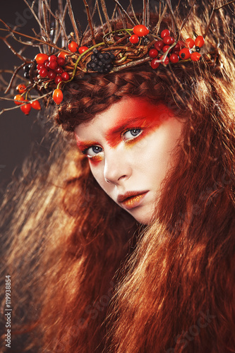 Stampa su Tela  Autumn Woman Fashion Art Portrait