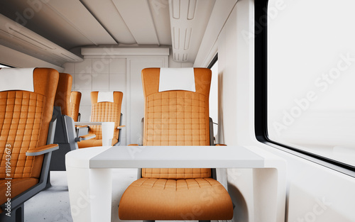Modern Comfortable Leather Armchair Inside First Class Cabin Fast Speed  Train Empty White Window Generic
