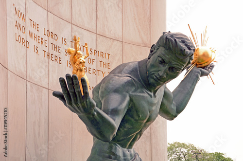 Photo sur Toile Commemoratif Spirit of Detroit Denkmal, Detroit